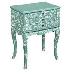 """Wood side table with a floral motif and scalloped apron.   Product: Side tableConstruction Material: WoodColor: TealFeatures:  Decorative skirtElegantly curved legs Dimensions: 29"""" H x 22"""" W x 15"""" D"""