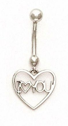 14k White I Love You Belly Ring - JewelryWeb JewelryWeb. $170.60