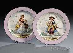 Wedgwood Queen's Ware plates, ca. 1860.