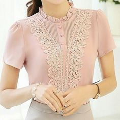 Band Collar Patchwork Lace Short Sleeve Blouse Find latest women's clothing, dresses, tops, outerwear, and other fashion clothing and enjoy the worldwide shipping # Blouse Styles, Blouse Designs, Hijab Fashion, Fashion Dresses, Kim So Hyun Fashion, Hijab Stile, Blouse And Skirt, Beautiful Blouses, Ladies Dress Design