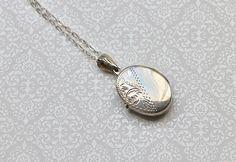 Sweet Romantic Vintage Sterling Silver Oval Locket  $59.00