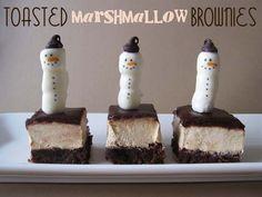 Toasted Marshmallow Brownies with mini marrshmallow snowmen