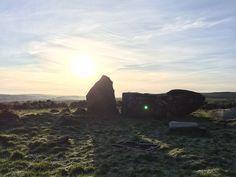 Boxing Day sun over Aikey Brae stone circle, Aberdeenshire, Scotland.