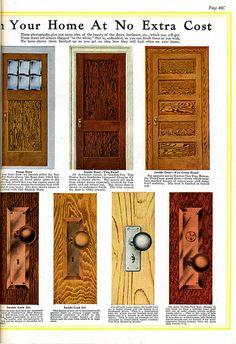 Interior views of Gordon-Van Tine Kit Homes (1920). Doors and lock hardware.