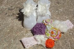 Shabby Chic Barefoot Sandals and Matching by WillowFayesCloset, $20.00