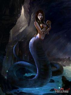 Cave Naga by Anime Fantasy, Dark Fantasy Art, Fantasy Girl, Fantasy Artwork, Mythical Creatures Art, Mythological Creatures, Fantasy Character Design, Character Art, Arte Alien