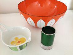 "Cathrineholm Lotus bowl, Figgjo ""Anne Marie"" and Emalox vase"