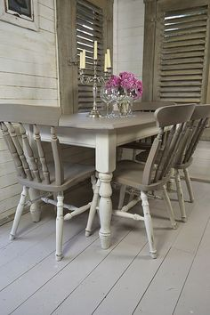 She's Crafty Grey And White Painted Kitchen Table  How To Simple Ideas For Painting Dining Room Table And Chairs Design Ideas