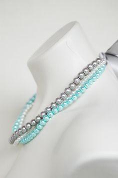 Angela - Perfect Bridesmaid Necklace-White, Silver & Turquoise, Triple Strand Pearl Necklace w/Ribbon Tie WEDDING JEWELRY Maid of HONOR. $30.00 USD, via Etsy. Comes in all colors. I am in LOVE with mine!