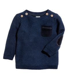 Check this out! Textured-knit sweater in soft cotton fabric with buttons on shoulders, corduroy chest pocket, and ribbing at cuffs and hem. - Visit hm.com to see more.