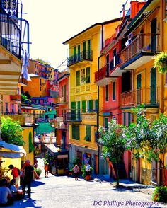 'Street Scene Cinque Terre' by denicaryphillips Beautiful Streets, Beautiful Places To Visit, Beautiful Buildings, Beautiful Landscapes, Beautiful World, Places To Travel, Places To See, Italy Street, Cinque Terre Italy