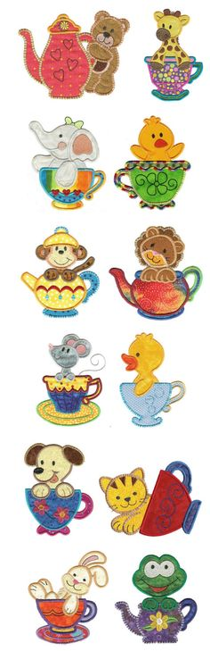 Embroidery | Free Machine Embroidery Designs | Tea Time Critters Applique