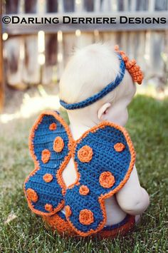 Crochet Butterfly Wings, Diaper Cover, and Headband Pattern by murtsss