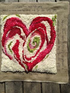 During her recent recovery from breast cancer, Meryl began designing a line of Healing Mats. Rug Hooking Designs, Rug Hooking Patterns, Hook Punch, Punch Needle Patterns, Rug Inspiration, Hand Hooked Rugs, Penny Rugs, Wool Applique, Needlework