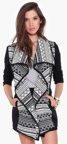 Wolf Cub Cardigan in Black and White