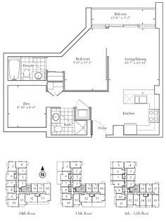 Floorplan - One Bedroom + Den 13th Floor, One Bedroom, Kitchen And Bath, Den, Floor Plans, Flooring, Hardwood Floor, Floor, Paving Stones