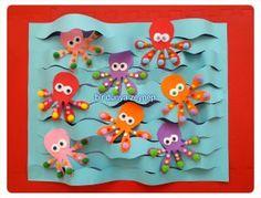 eva ve ponponlardan ahtapotlarımız. Sea Crafts, Diy And Crafts, Arts And Crafts, Paper Crafts, Octopus Crafts, Fish Crafts, Diy For Kids, Crafts For Kids, Art N Craft