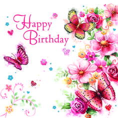 Happy Birthday flowers and butterflies Birthday Greetings For Kids, Happy Birthday Wishes Cards, Happy Birthday Flower, Birthday Blessings, Birthday Wishes Quotes, Happy Birthday Pictures, Birthday Msgs, Birthdays, Butterflies