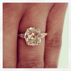 Warm and deliciously sparkly. A 2.74ct light brown vintage cushion cut diamond set in rose gold. A Single Stone original. plz repin, like or follow!