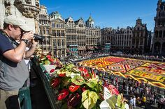 Volunteers got on their hands and knees to lay down thousands of begonias to create to biennial flower carpet at the Grand Palace in Brussels, Belgium, on August 14, 2012.