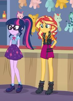 MLP:FIM Imageboard - Image #1832613 - arms behind head, boots, clothes, equestria girls, geode of super speed, geode of telekinesis, glasses, hand on hip, jacket, magical geodes, ponytail, rollercoaster of friendship, safe, sci-twi, screencap, shoes, skirt, smiling, spoiler:eqg series, sunset shimmer, twilight sparkle