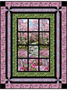 """Create a window into another world.   This beautiful pattern will give you a glimpse into a world only an imagination away each and every time you look at it. The coordinating fabrics and panel (all shown below) make your finished piece just as stunning as the picture! Stitch this up in no time using paper piecing and other simple techniques. Finished size is 56"""" x 73"""", making it a stunning, large wall hanging for your home."""