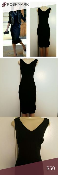 Elie Tahari black shift dress In excellent condition  Midi style All black w/ red lining inside bust Stunning piece Elie Tahari Dresses Midi