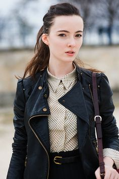 leather motorcycle jacket paired with a proper blouse, #dying