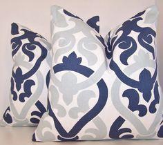 Pair Blue Pillow. Navy Pillow. PILLOW by Cathyscustompillows