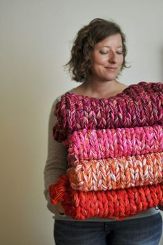 Extreme knitting blanket- these look so cozy.