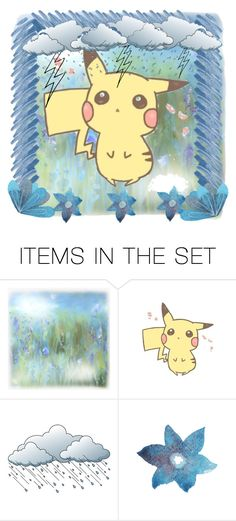 """Pikachu - Caught in the Rain - OPEN Icon"" by malecsizzyclace ❤ liked on Polyvore featuring art, open, icon, Pokemon, pikachu and Pika"
