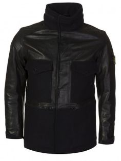 Stone Island Black Panno Waxed Leather Jacket