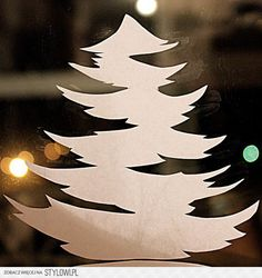 How to DIY Paper Christmas Window Decorations from Free Template Christmas Window Stencils, Christmas Window Stickers, Paper Christmas Decorations, Christmas Paper Crafts, Christmas Wood, Christmas Projects, Simple Christmas, Christmas Ornaments, Illustration Noel