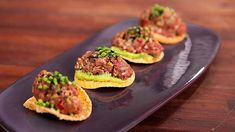Try this Beef tartare with crispy wontons & wasabi avocado recipe by Chef Justine Schofield . This recipe is from the show Everyday Gourmet. Wonton Recipes, Best Salad Recipes, Pureed Food Recipes, Avocado Recipes, Side Recipes, Beef Recipes, Cooking Recipes, Tartare Recipe, Crispy Wonton