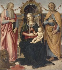 Andrea d'Assisi dit Il Ingegno ou Pietro Perugino and workshop (1448–1523)  - The Virgin Enthroned with the Child between Saint Jerome and Saint Peter.	circa 1490, 	oil on oak panel, 145 cm (57.1 in) x 128 cm (50.4 in). 	 Musée Condé,