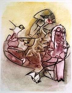 Dorothea Tanning   (1910-2012)    Orphans      etching, soft-ground etching and open-bite printed in grey purplish red, light yellow and dark greyish brown, 1963     edition of 250 on BFK Rives