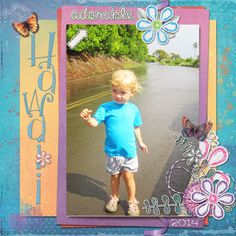 Kit is Color Me Happy by Kimeric Kreations Template is by dinsk My Granddaughter in Hawaii on Holiday