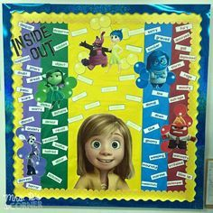 Inside Out bulletin board (includes a freebie) - Learning about our Emotions: Inside and Out Disney Bulletin Boards, Counselor Bulletin Boards, Bulletin Board Display, Display Boards, Elementary Counseling, School Counselor, Counseling Office, Counseling Activities, Elementary Library