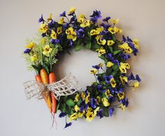 FREE SHIPPINGPansy Door Wreath for Spring and by Casabellawreaths, $60.00