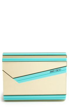 Love the elegance of this gold and mint Jimmy Choo clutch.