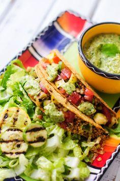 Grilled Veggie Quinoa Tacos with Cilantro Pesto
