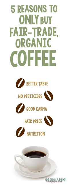 Reasons You Should ONLY Buy Fair-Trade, Organic Coffee 5 reasons to ONLY buy organic fair-trade coffee.ALSO, you will need some coffee for all those reasons to ONLY buy organic fair-trade coffee.ALSO, you will need some coffee for all those mugs! Best Organic Coffee, Fair Trade Chocolate, One Green Planet, Fair Trade Coffee, Salud Natural, Organic Living, Eating Organic, Coffee Recipes, Coffee Time