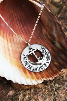 Personalized Mom Necklace  Sons are the Anchors  by CJTangles, $15.00