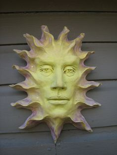 Face of the Sun 1 ceramic mask wall art by SmillieCeramics on Etsy, $65.00
