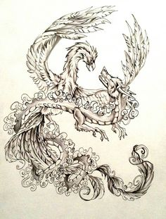 Dragon nd phoenix fighting yin nd yang