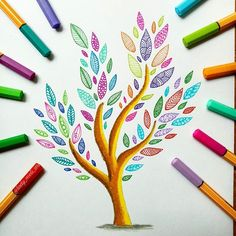 """""""How beautifully leaves grow old. How full of light and color are their last days. Doodle Art Drawing, Zentangle Drawings, Mandala Drawing, Pencil Art Drawings, Zentangle Patterns, Art Sketches, Marker Kunst, Marker Art, Pen Art"""