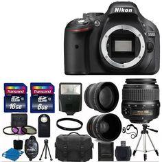 Nikon D5200 Digital SLR Camera + 3 Lens 18-55mm VR + 24GB KIT & More Brand New #Nikon
