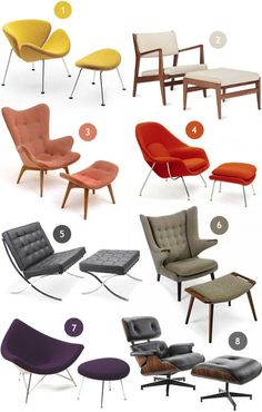 Mid-Century modern lounge chairs.  1. Orange Slice Chair + Ottoman, Pierre Paulin / 2. Armchair + Ottoman, Jens Risom / 3. Contour Lounge Chair + Ottoman, Grant Featherston / 4.Womb Chair + Ottoman, Eero Saarinen / 5. Barcelona Chair + Ottoman, Mies van der Rohe / 6. Papa Bear Chair + Ottoman, Hans Wegner / 7. Coconut Chair + Ottoman, George Nelson / 8. Lounge Chair + Ottoman, Charles and Ray Eames #LoungeChair
