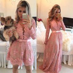 lace Prom Dress,new Prom Dress,modest Prom Dress,pink Evening Dress Prom Dresses Long Pink, Simple Prom Dress, V Neck Prom Dresses, Prom Dresses Long With Sleeves, Prom Dresses 2017, Beautiful Prom Dresses, Prom Party Dresses, Elegant Dresses, Short Dresses