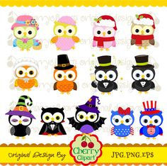Holiday and Season Owls Digital Clipart Set 2 for by Cherryclipart, $5.00